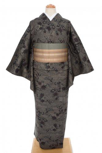 単衣 紬 焦げ茶や黒 菊牡丹のサムネイル画像