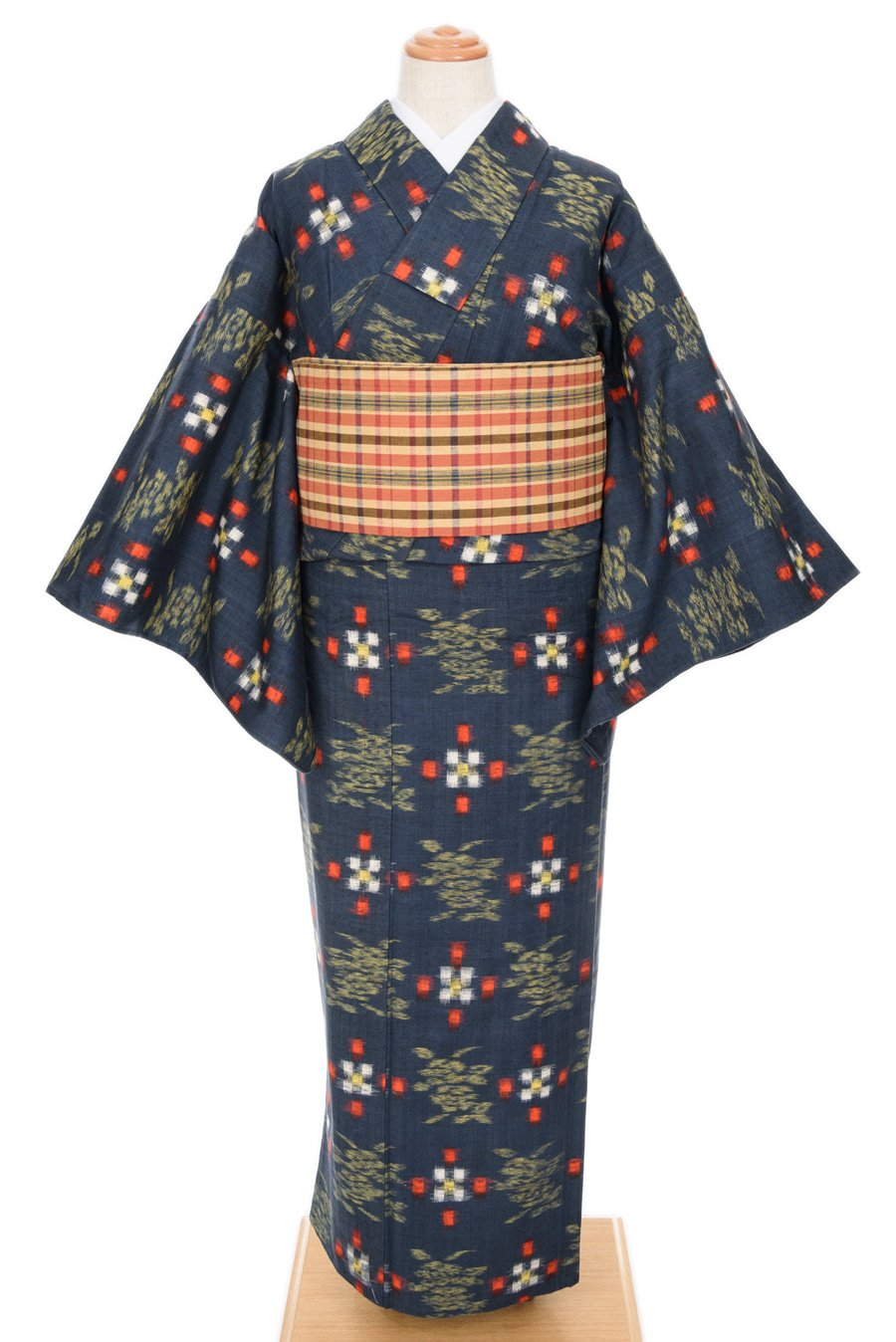 「単衣 紺地 ドットと花」の商品画像