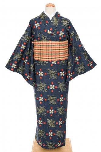 単衣 紺地 ドットと花のサムネイル画像