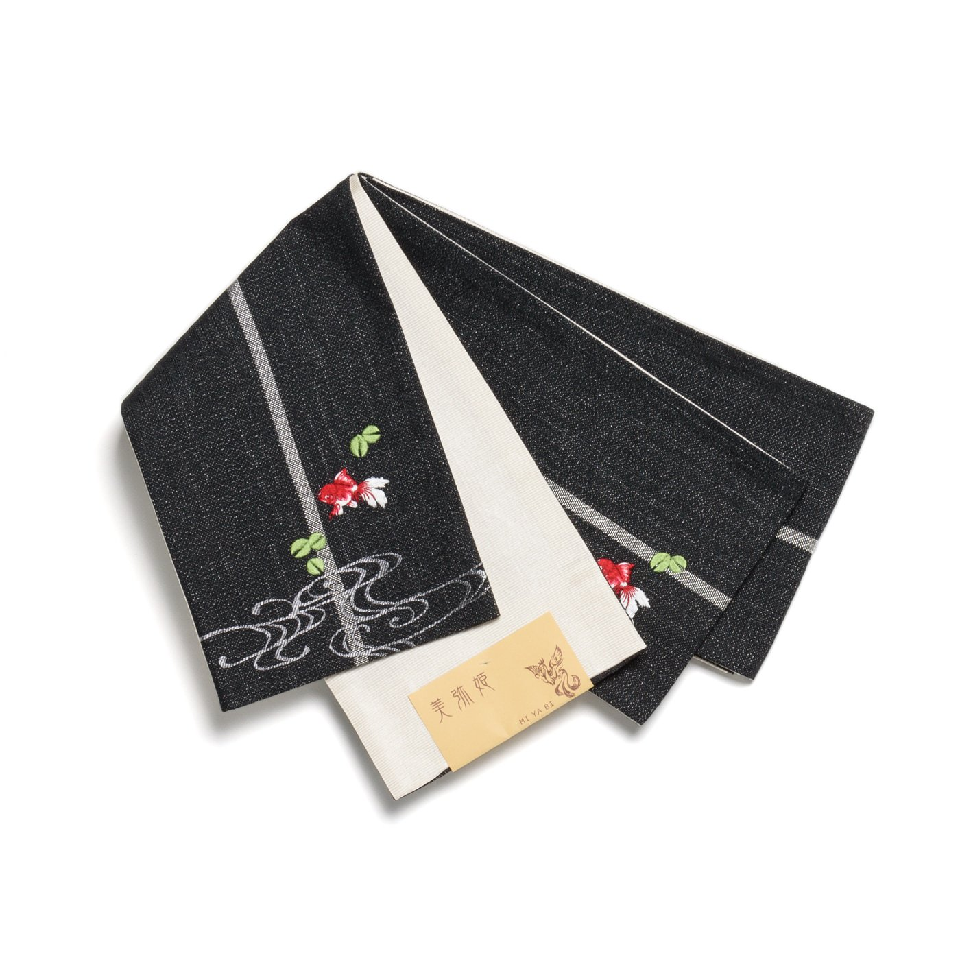 「半幅帯 黒色地×金魚」の商品画像