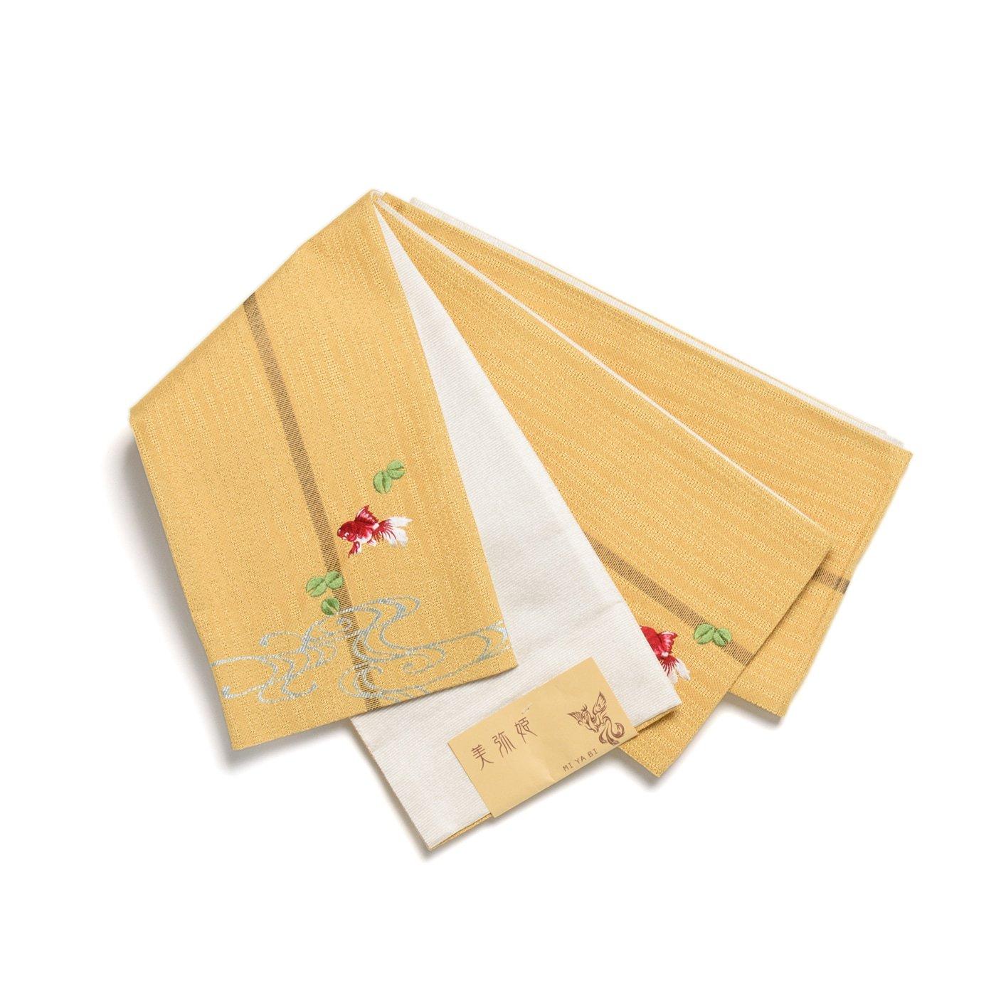 「半幅帯 黄色地×金魚」の商品画像
