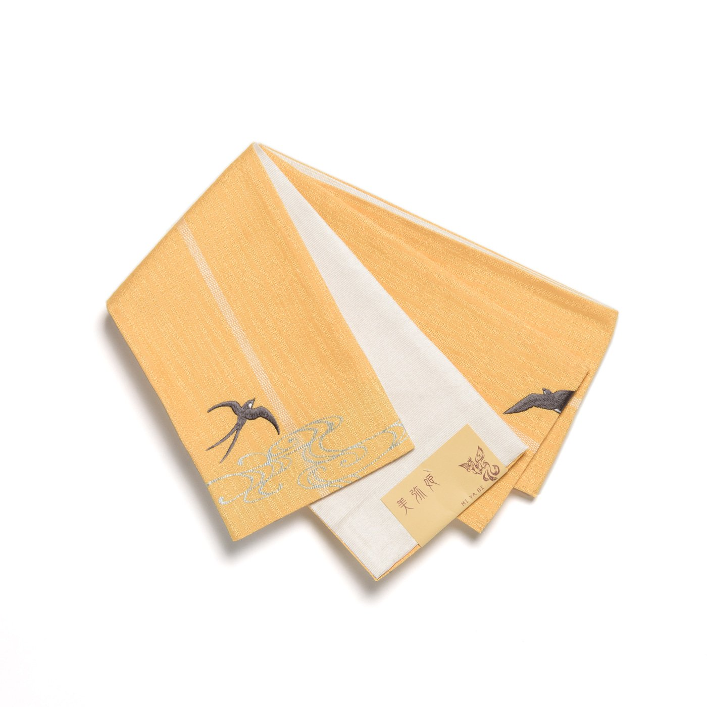 「半幅帯 黄色地×ツバメ」の商品画像