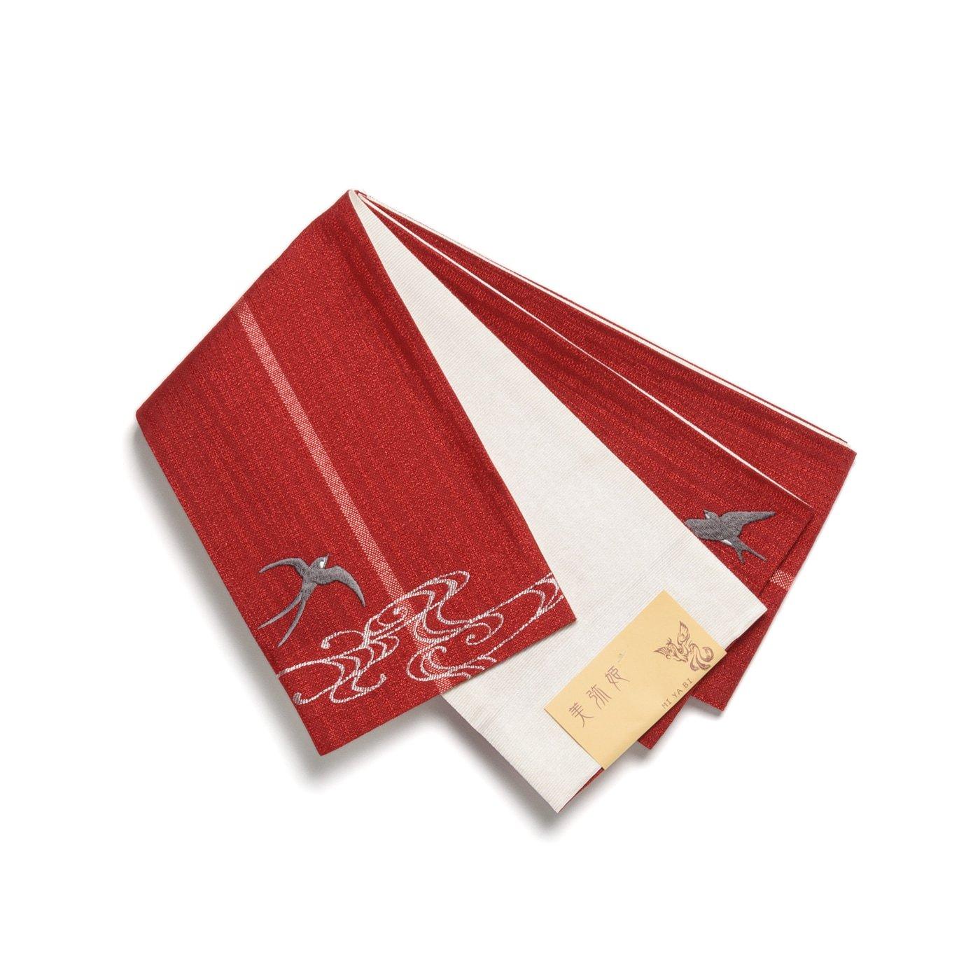 「半幅帯 赤色地×ツバメ」の商品画像