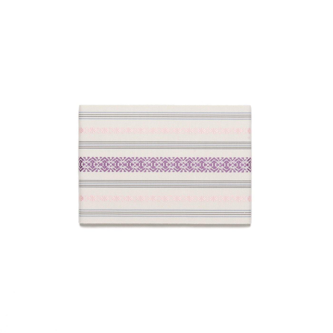 「本場筑前博多半幅帯 白地に紫・桃」の商品画像