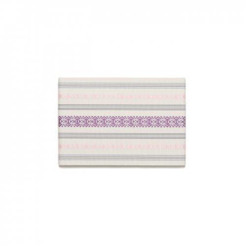 本場筑前博多半幅帯 白地に紫・桃のサムネイル画像