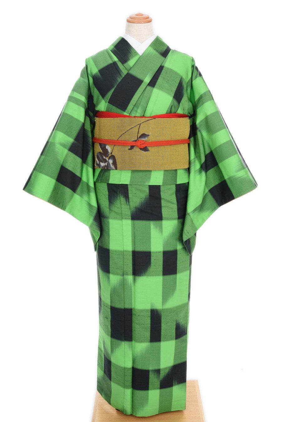 「紬 グリーンと黒の変わり格子」の商品画像