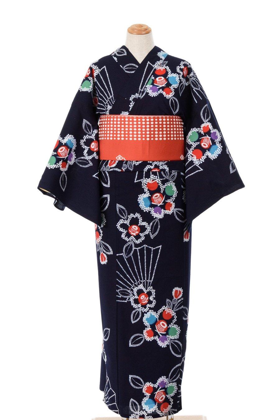 「浴衣 紺地に椿と扇」の商品画像