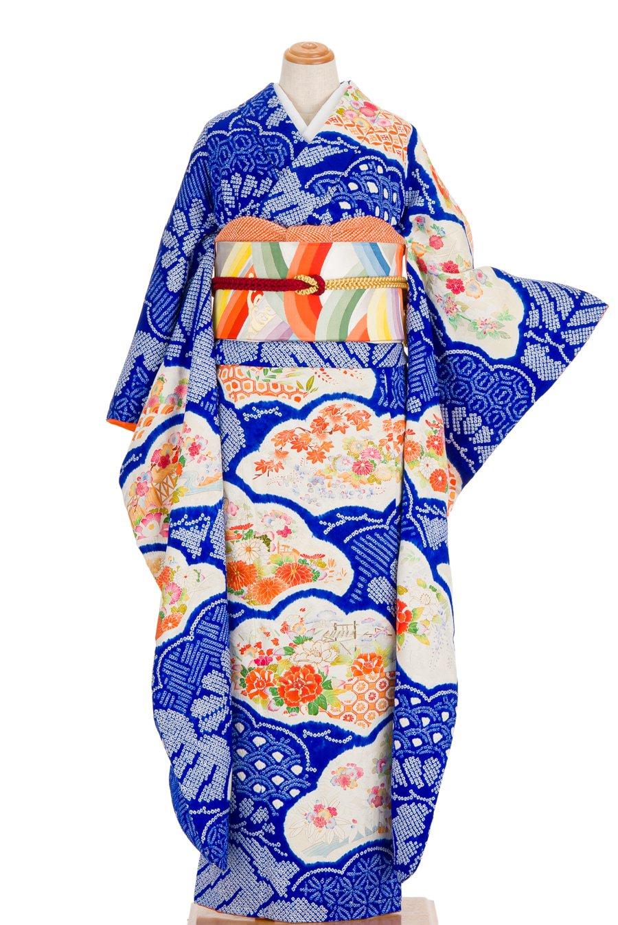 「振袖 青絞り 松シルエットに花」の商品画像