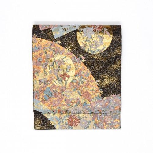 袋帯●扇面に花 丸に百合などのサムネイル画像