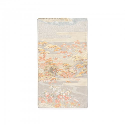 袋帯●灰紫 橋に松・紅葉・菊など