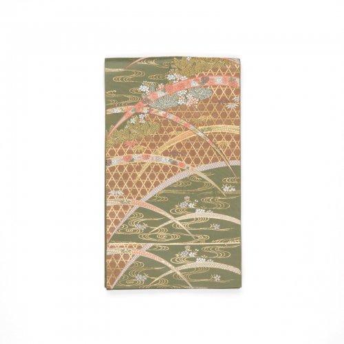 袋帯●籠目に芝草 流水と桜のサムネイル画像