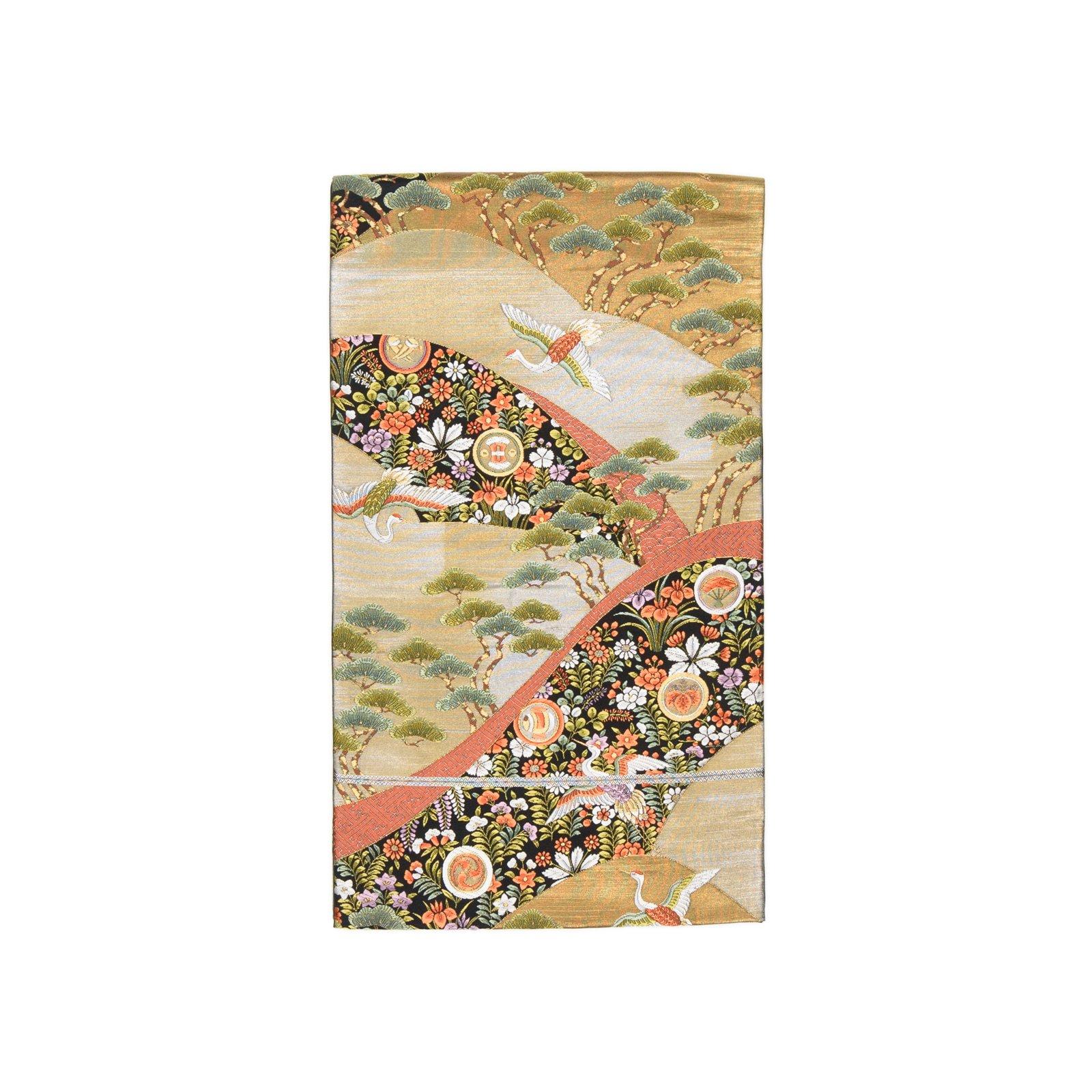 「袋帯●丸に小槌や扇 空舞う鶴」の商品画像