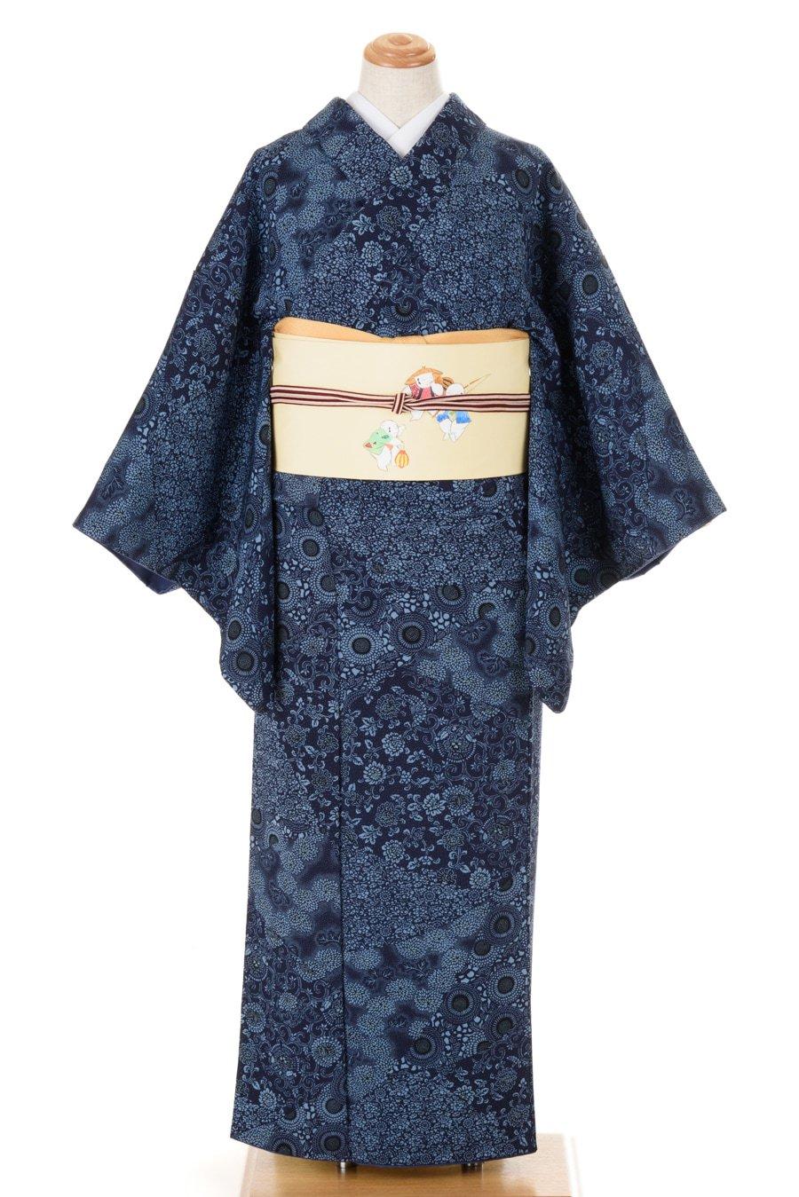 「藍色 縮緬 菊と唐草」の商品画像