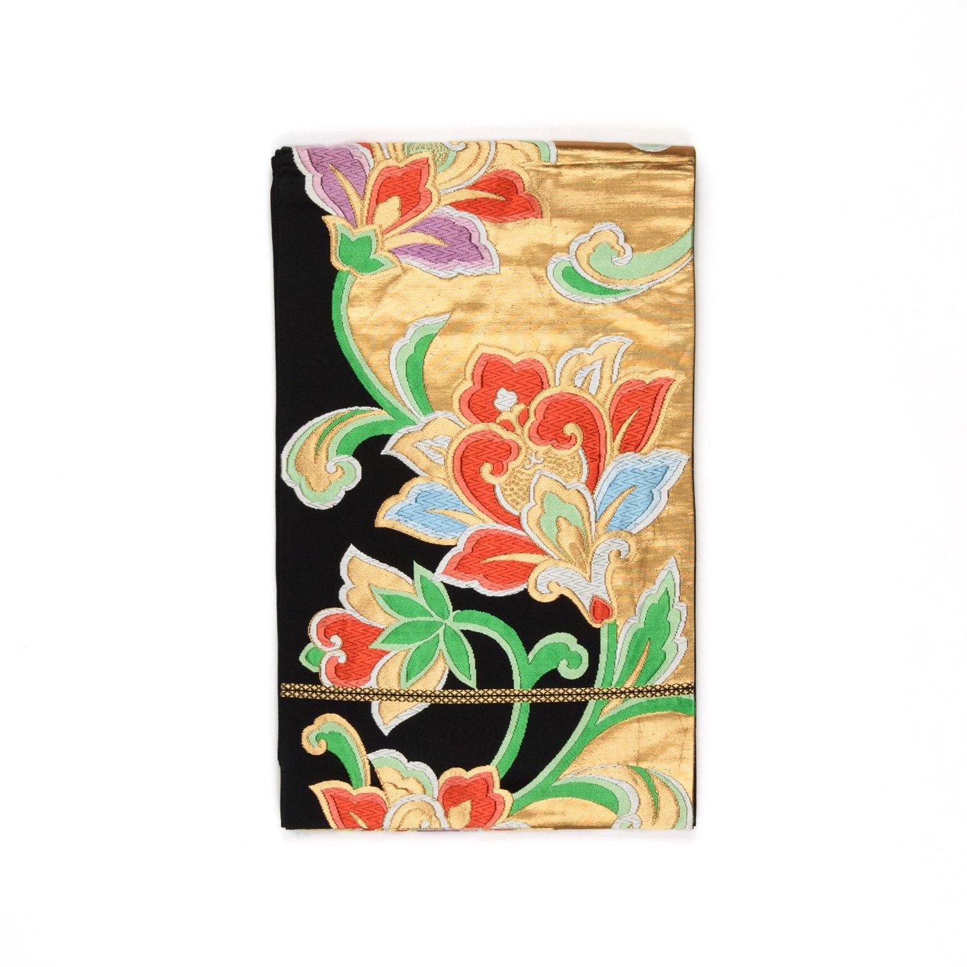 「袋帯●黒地に金唐花」の商品画像