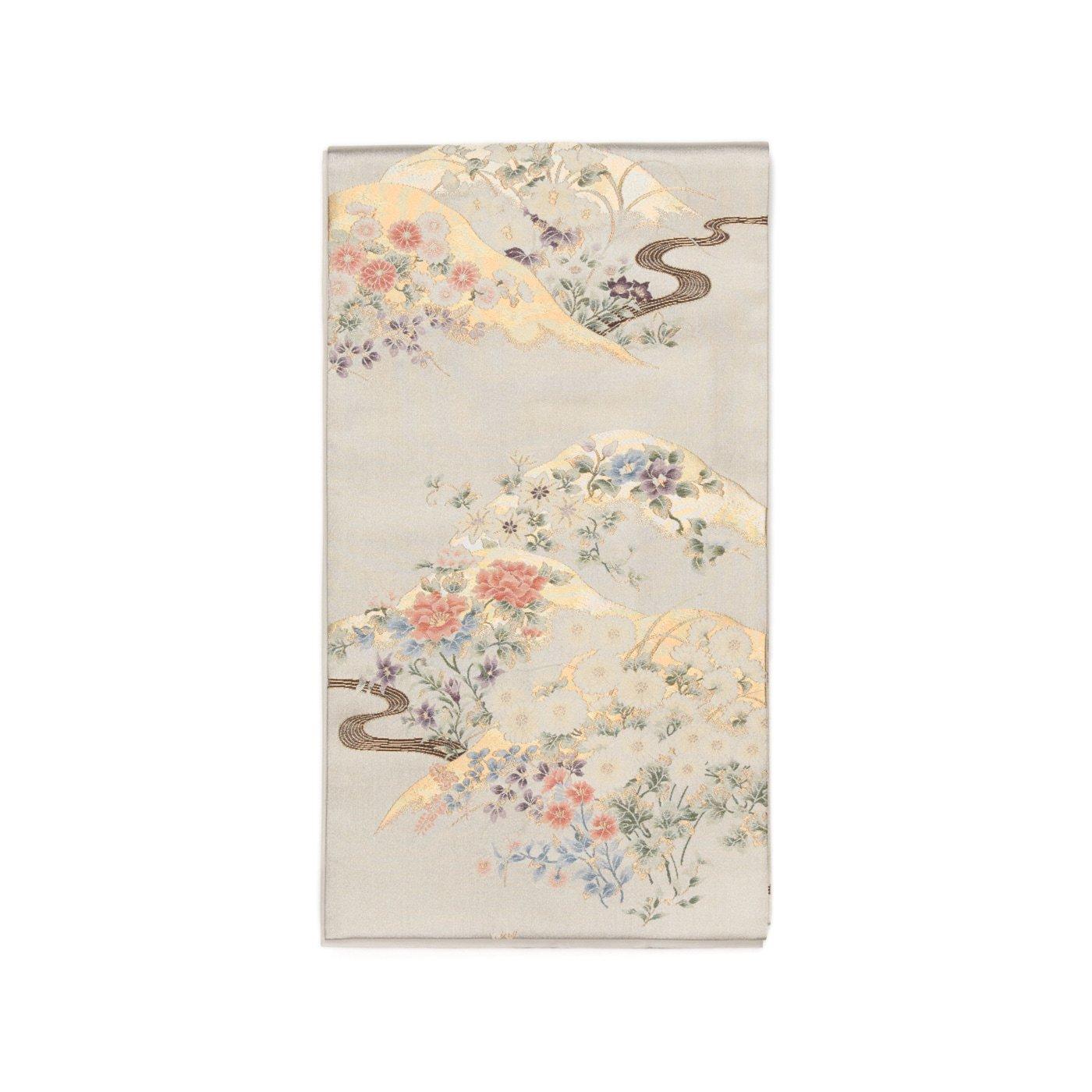 「袋帯●シャンパンゴールドの地 山と花」の商品画像