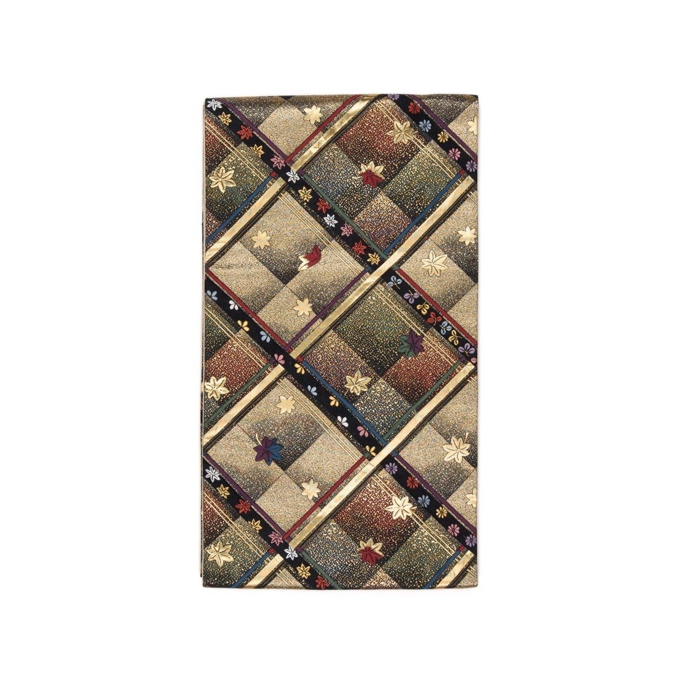 「袋帯●斜め格子と紅葉」の商品画像