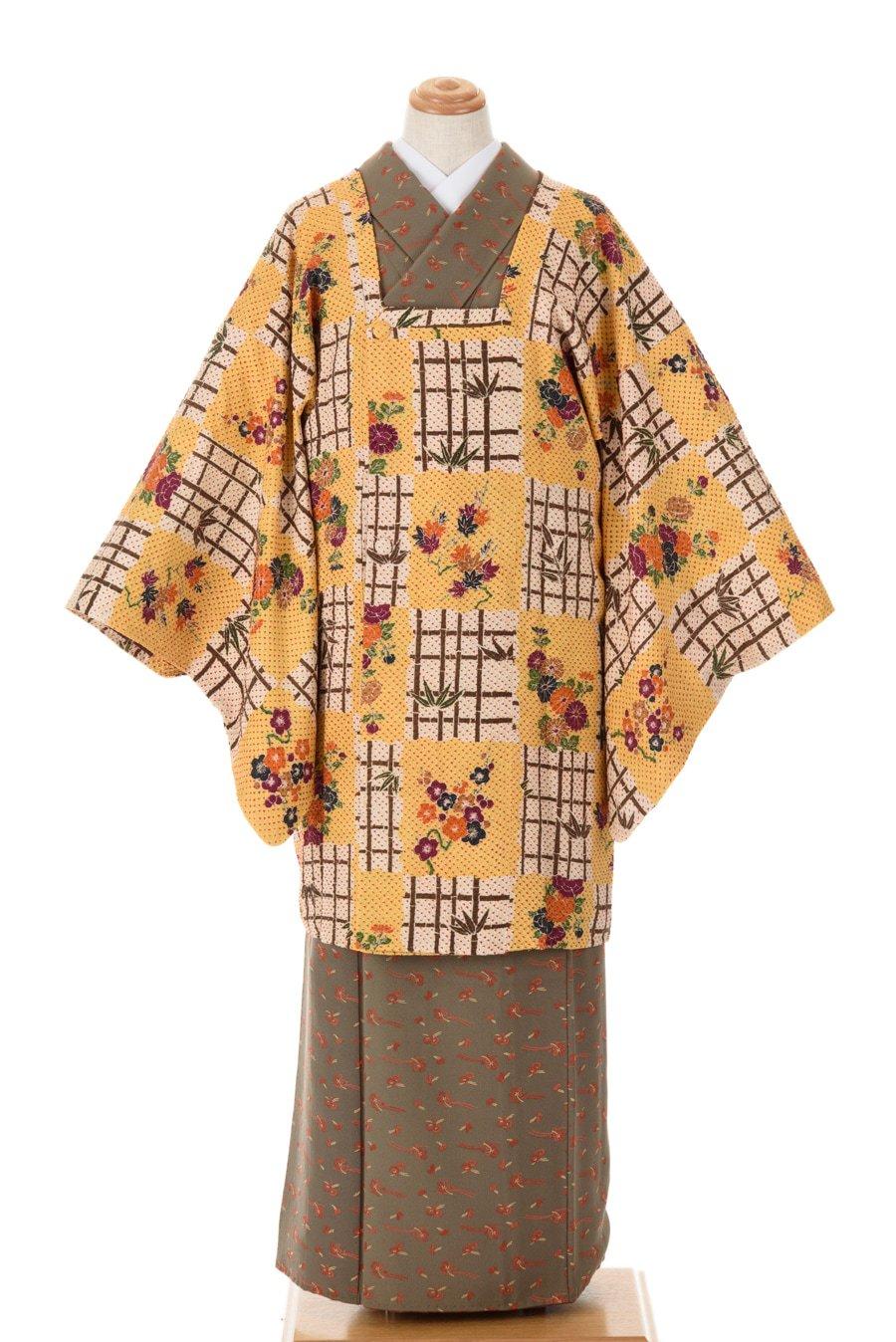 「道行コート 絞り 四季の花と竹格子」の商品画像