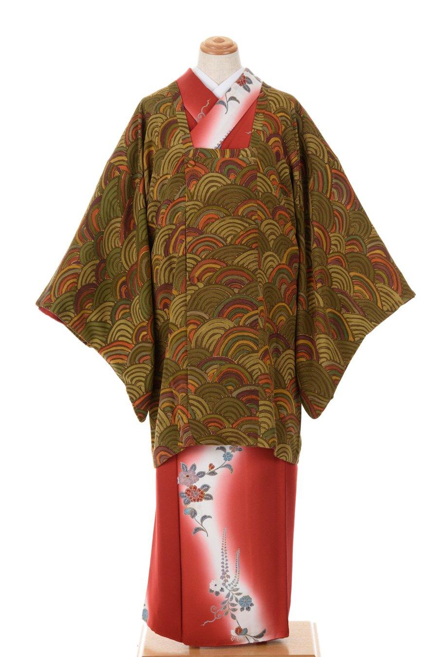 「道行コート カーキ・グリーン系青海波」の商品画像