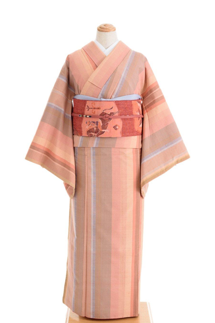 「ピンクベース ランダムな縞 紬」の商品画像