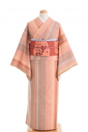 ピンクベース ランダムな縞 紬のサムネイル画像