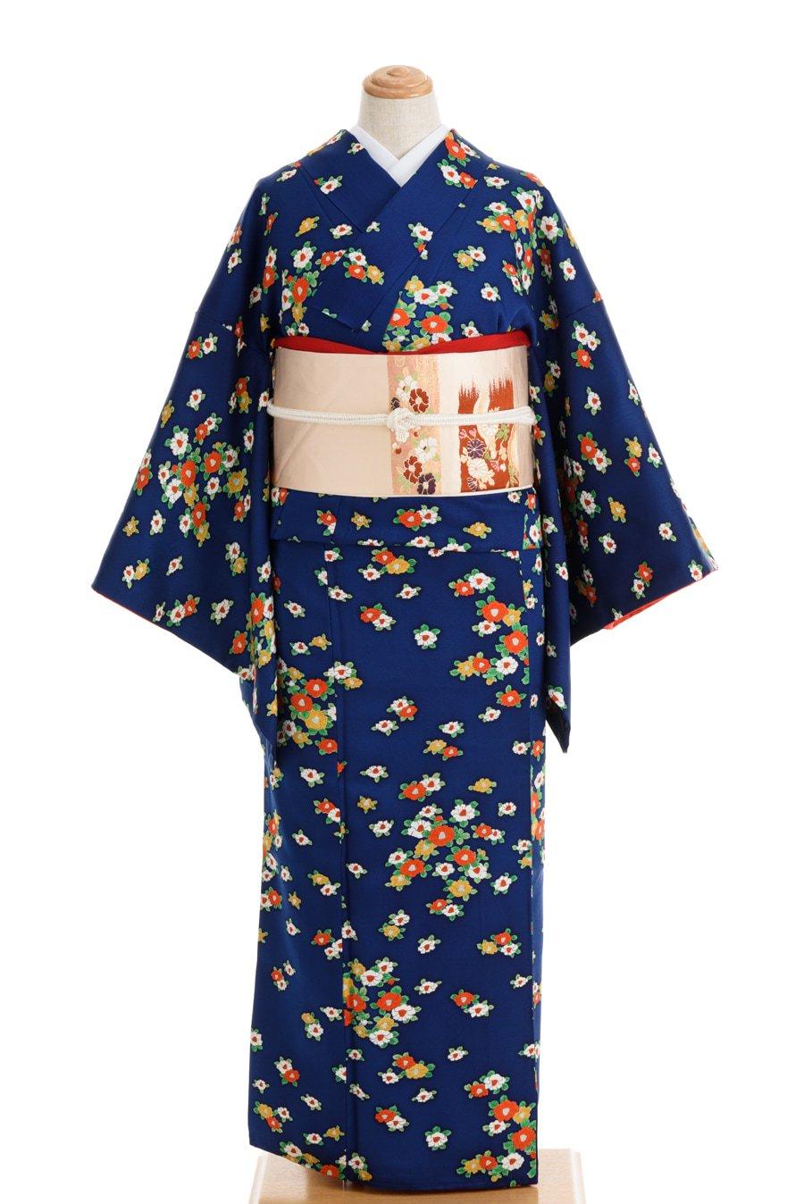 「紺地 小さな椿の花」の商品画像