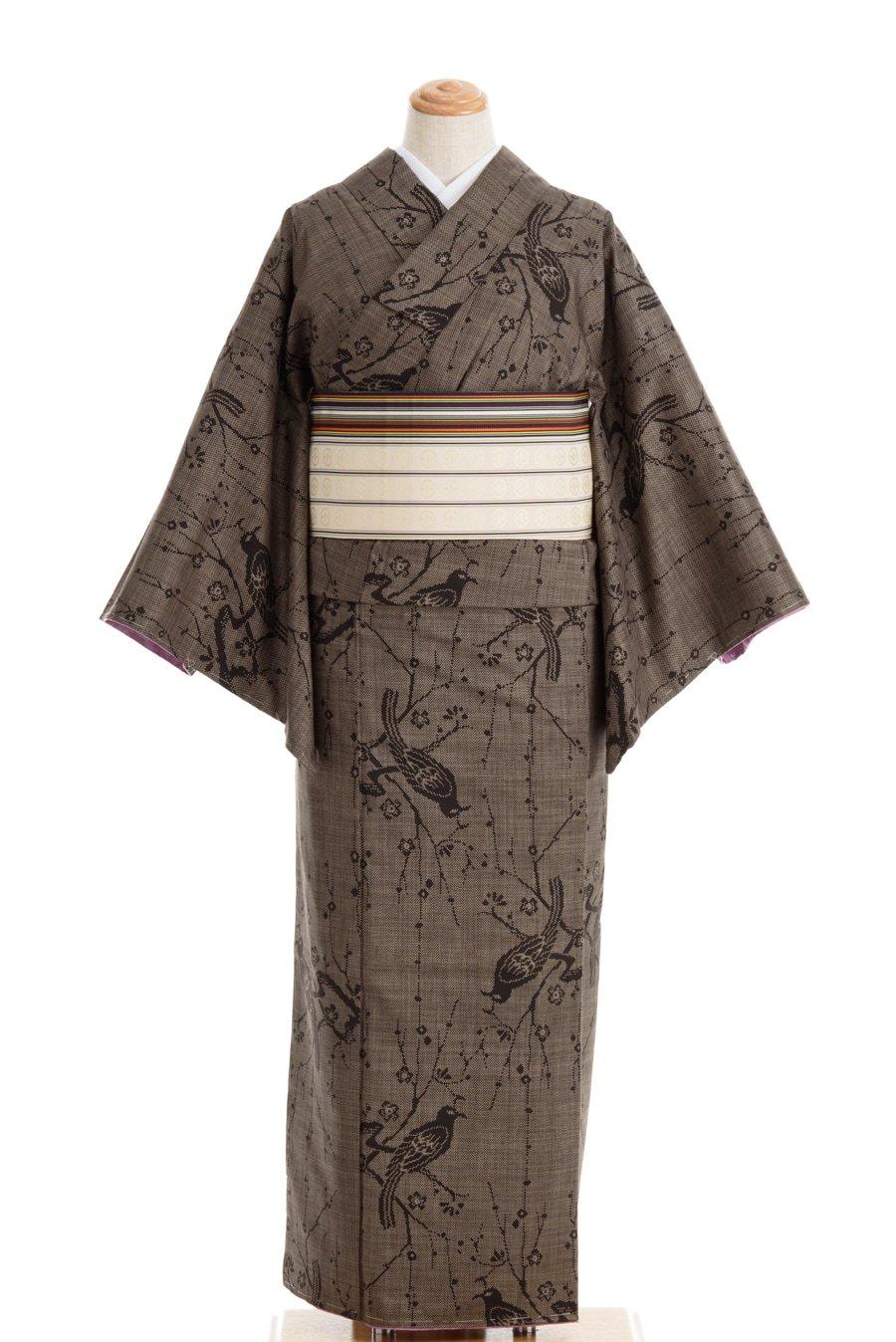 「セミアンティーク大島紬 梅と鳥」の商品画像