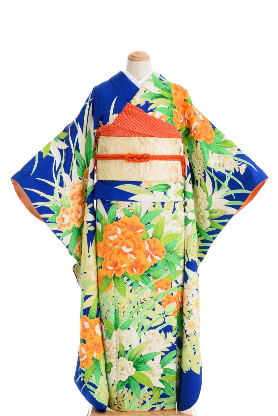 「振袖 オレンジや白などの花」の商品画像