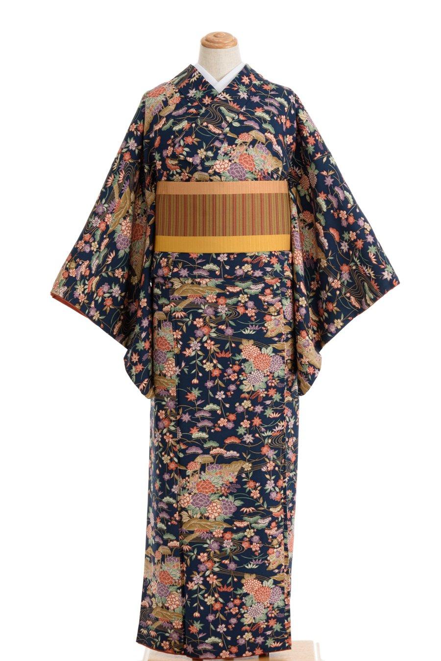 「紺藍地 牡丹や枝垂れ桜など」の商品画像