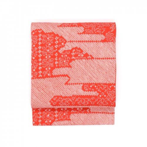 総絞り 朱赤 霞に小花のサムネイル画像