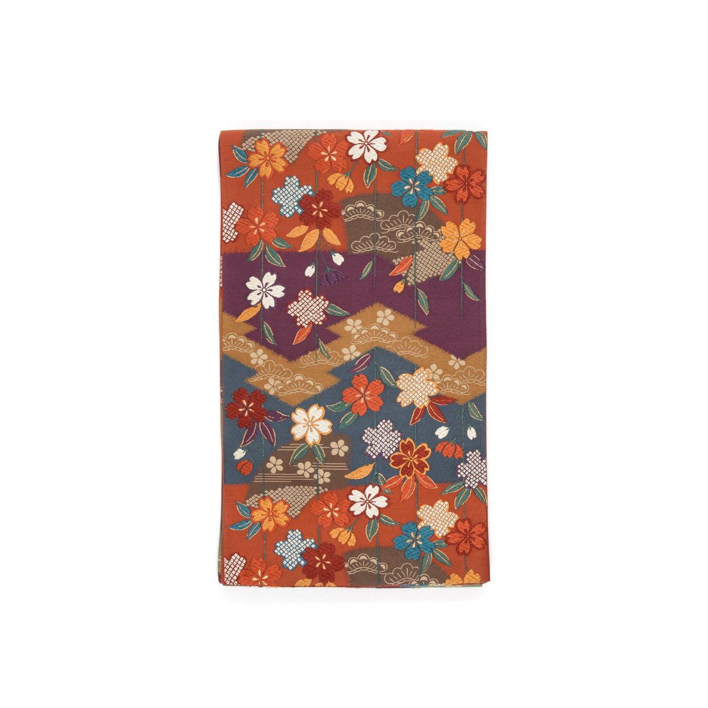 「洒落袋帯●松皮菱取りに枝垂れ桜」の商品画像