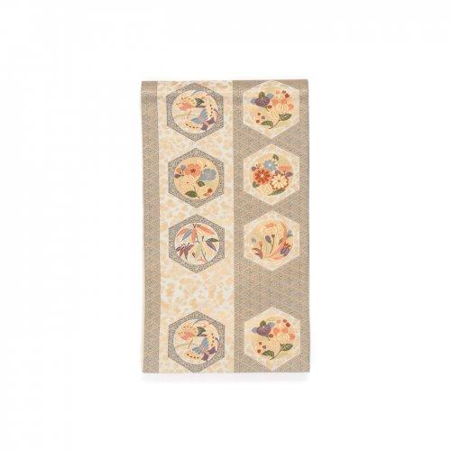 袋帯●ツートンデザイン 六角形に花や蝶のサムネイル画像