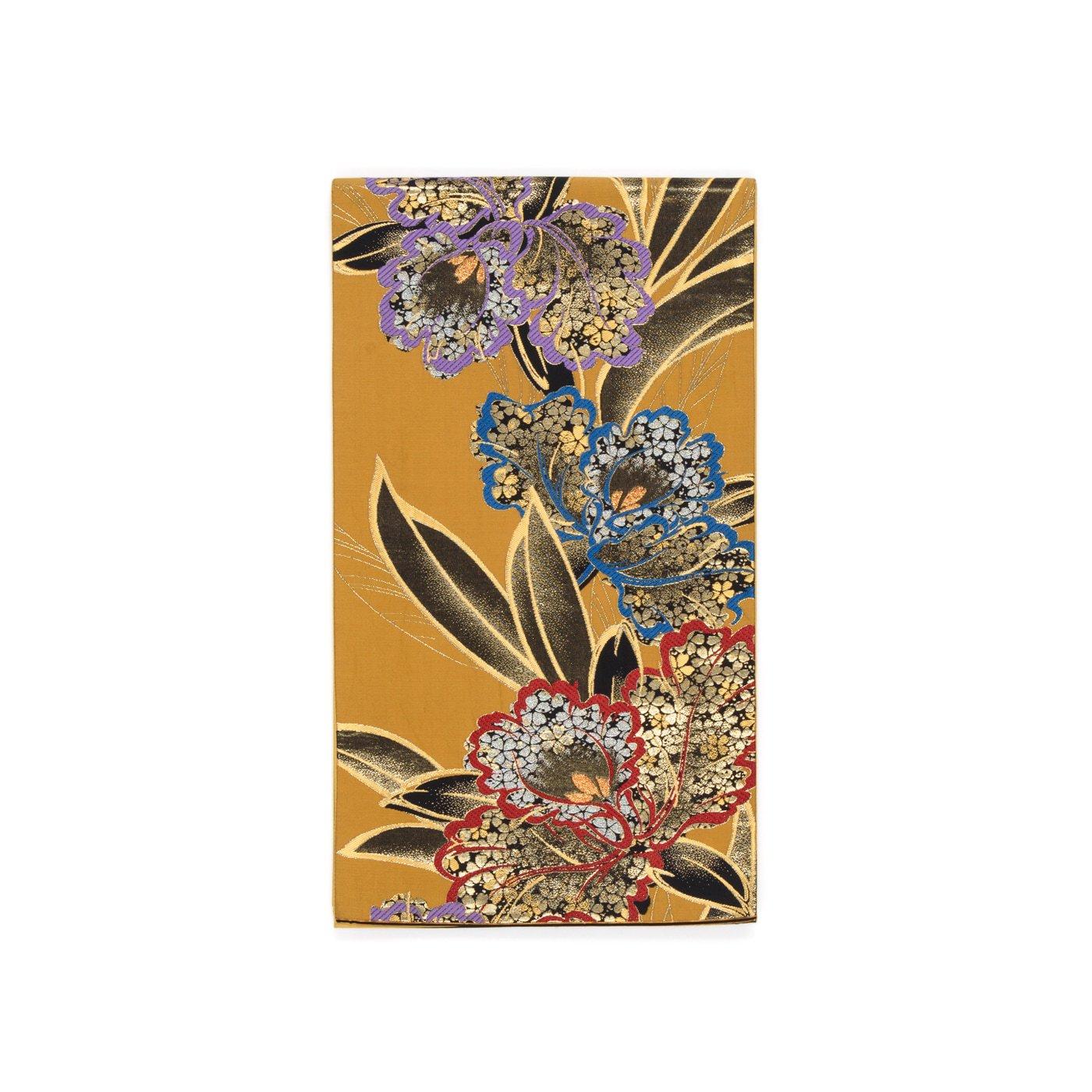 「袋帯●三色の大きなカトレア」の商品画像