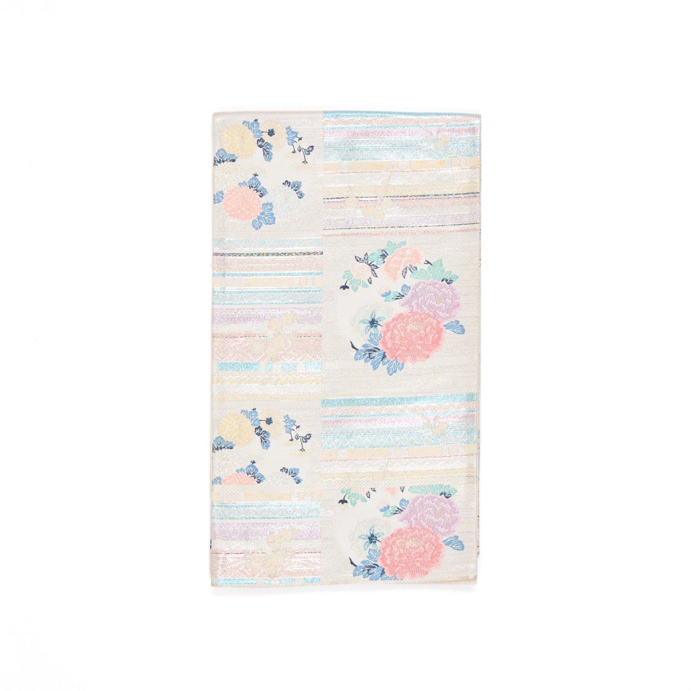 「袋帯●オーロラカラーの横段と菊・牡丹」の商品画像