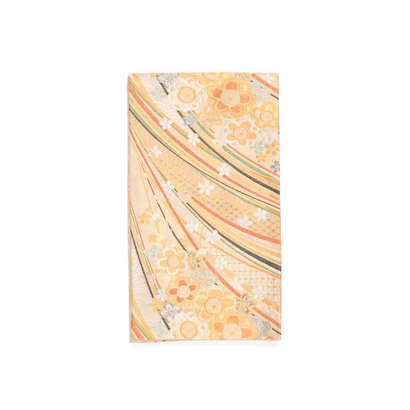 「袋帯●八重梅と虹のような曲線」の商品画像