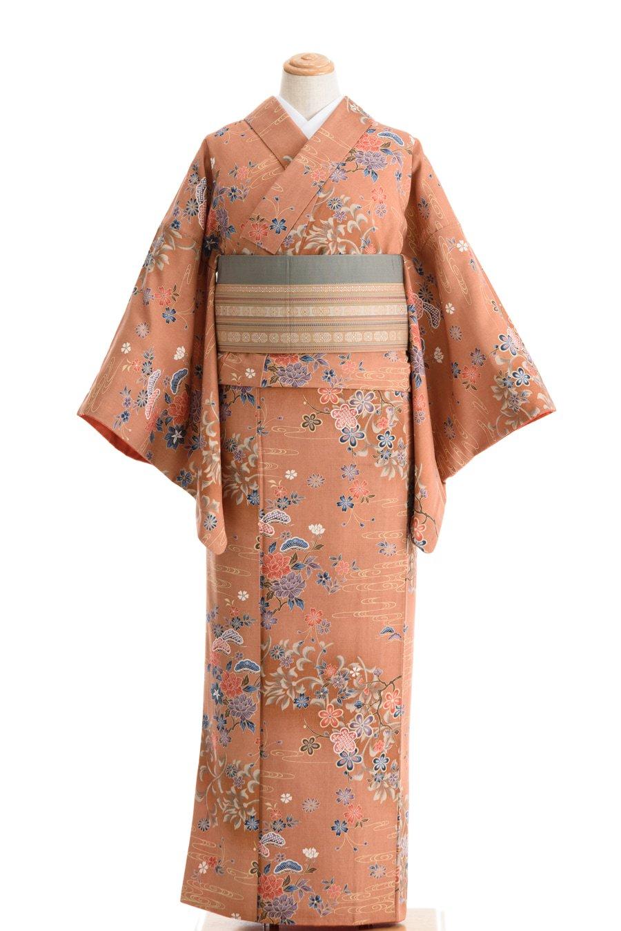 「染紬 キャラメル色に花と流水」の商品画像