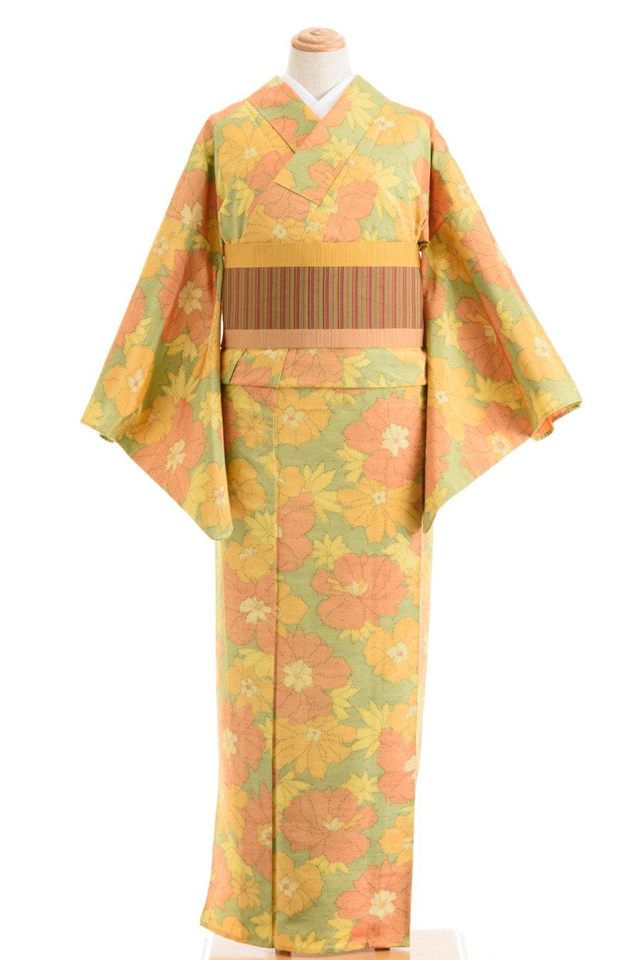 「単衣 紬 黄色やオレンジ色の花」の商品画像