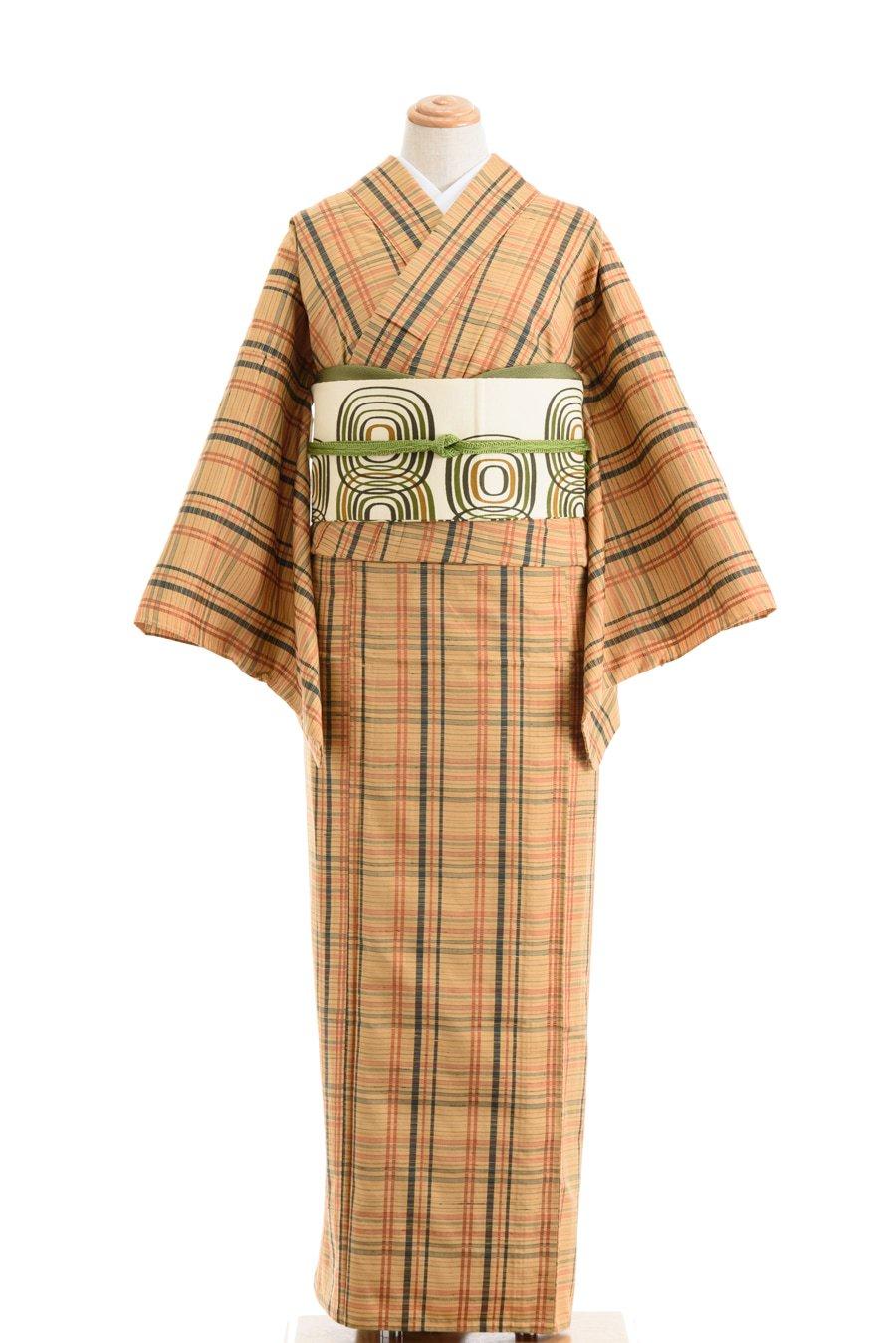 「単衣 紬 柑子色に格子」の商品画像