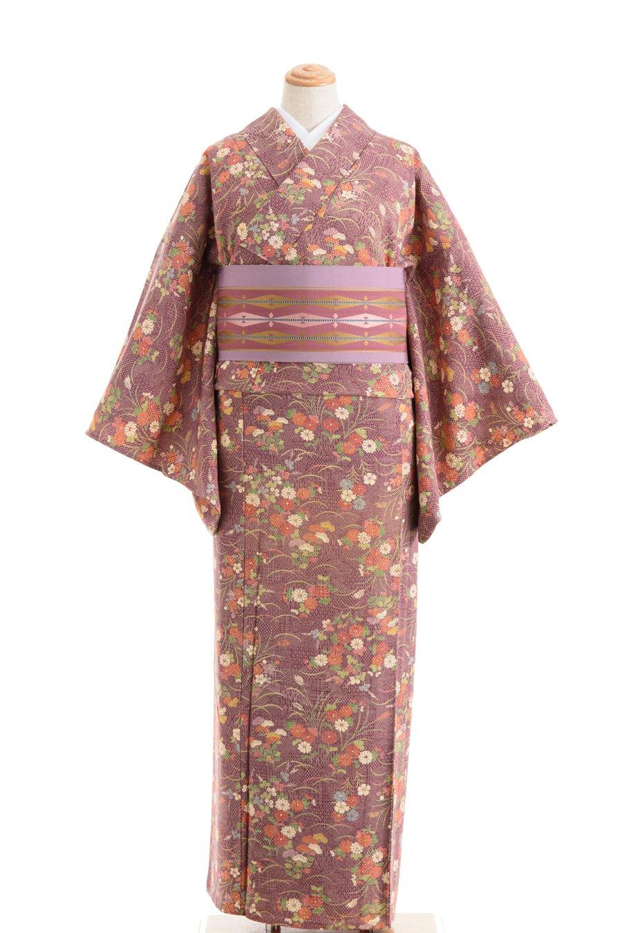 「単衣 紫の地 秋草模様」の商品画像