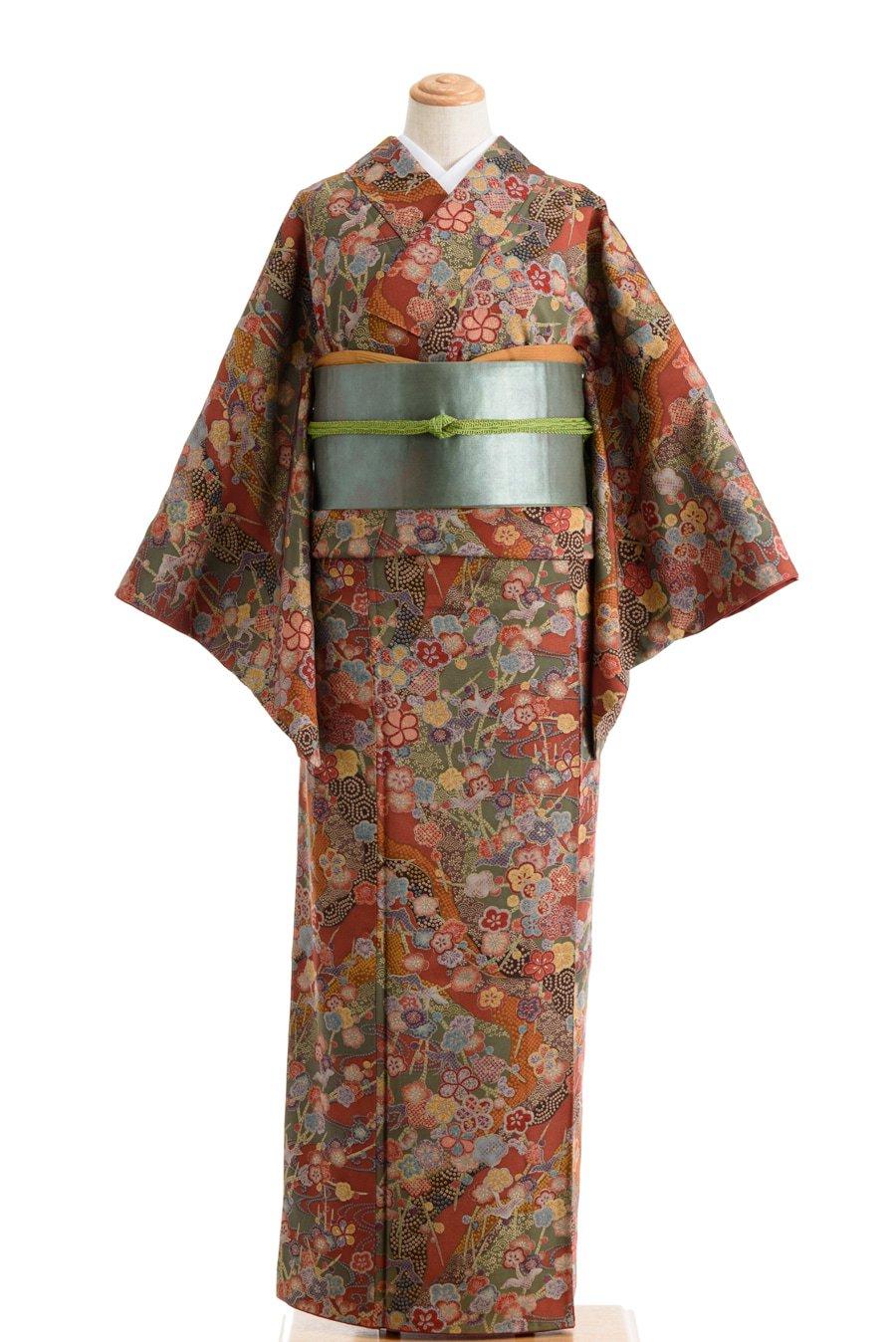「赤茶地 梅と鶴」の商品画像