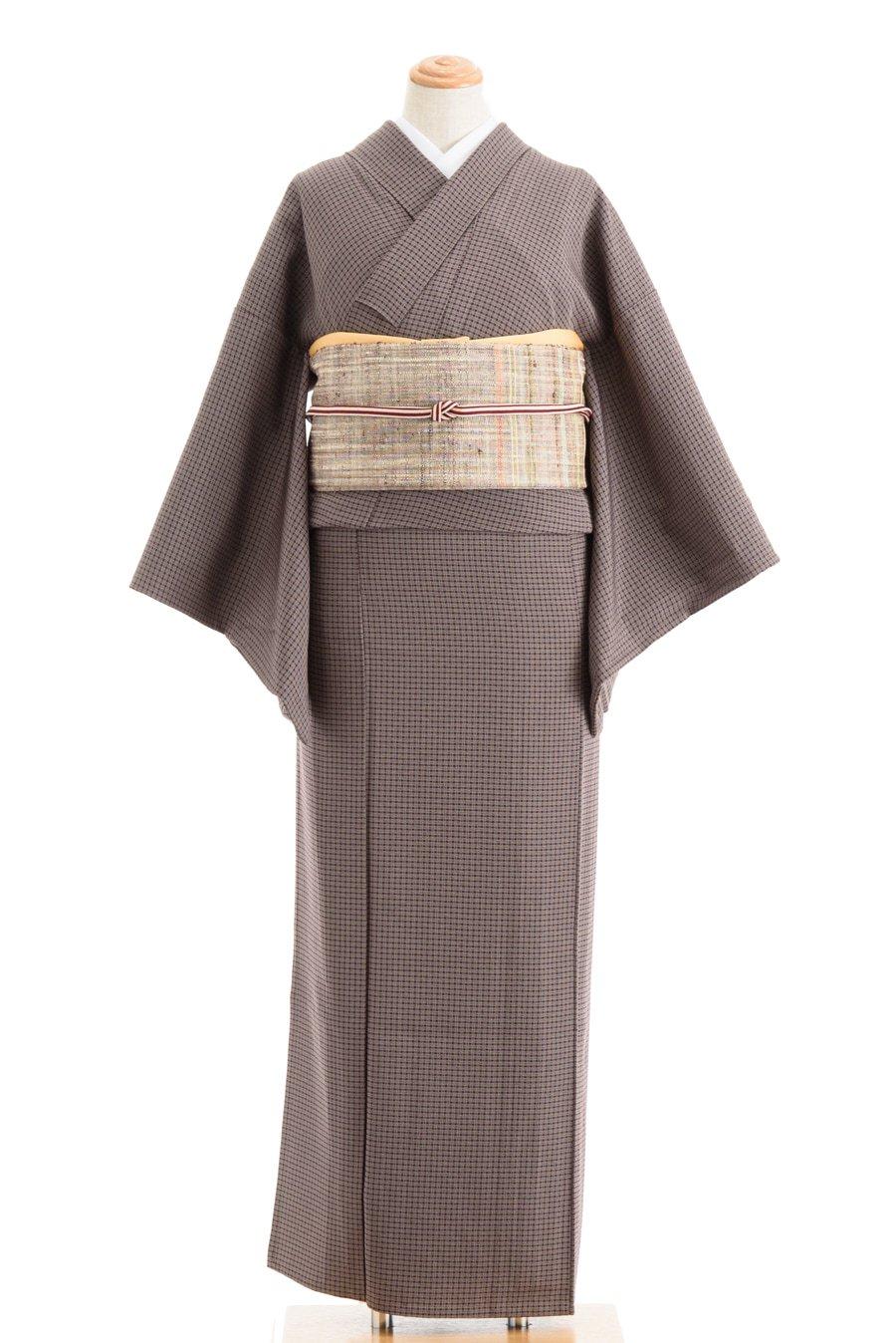 「単衣 紫茶の細かな格子」の商品画像