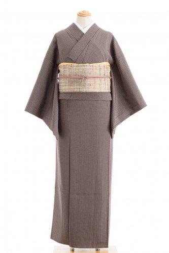 単衣 紫茶の細かな格子のサムネイル画像