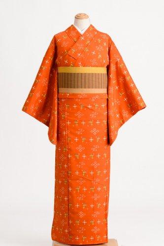紬 柿色地 絣柄のサムネイル画像