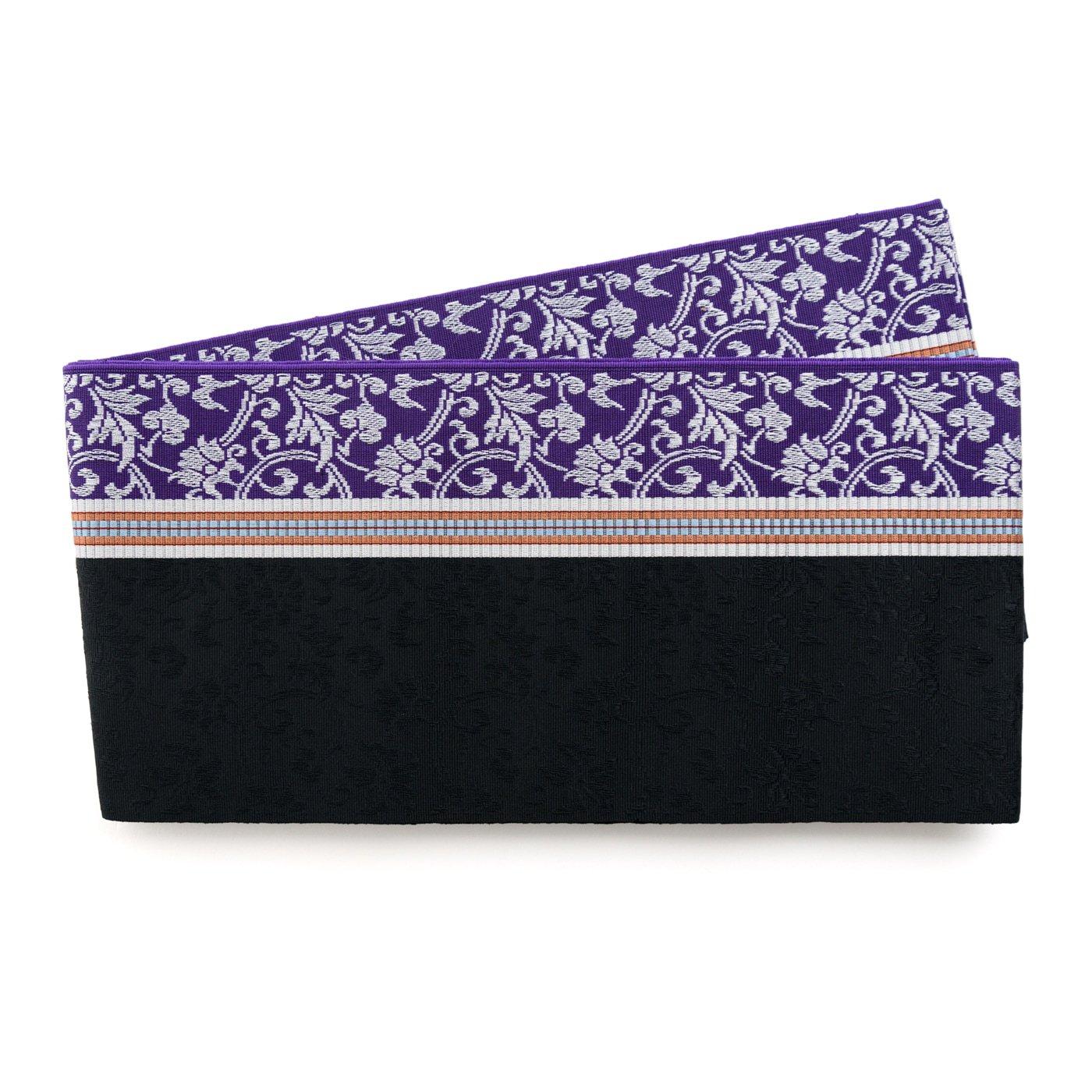 「博多小袋帯 紫と黒の縞 唐花」の商品画像