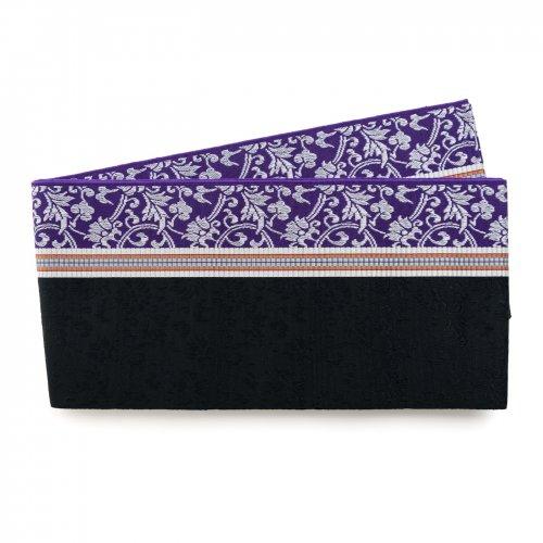 博多小袋帯 紫と黒の縞 唐花