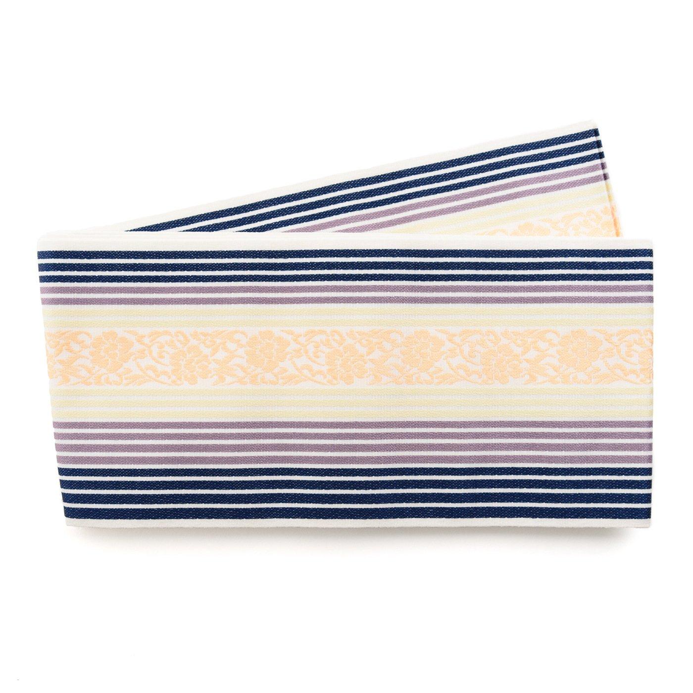 「博多小袋帯 三色細縞に唐花模様」の商品画像