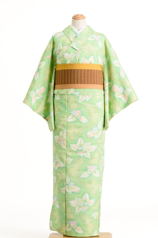 「紬 黄緑地 大ぶりの葉と小花」の商品画像