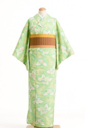 紬 黄緑地 大ぶりの葉と小花のサムネイル画像