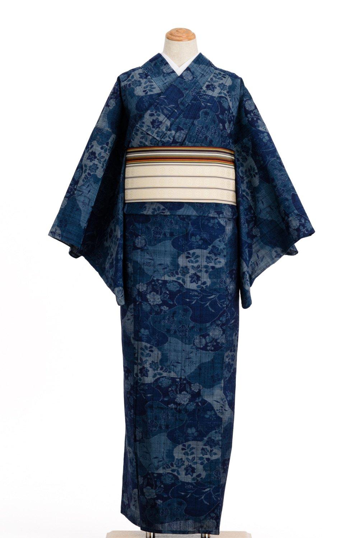 「単衣 藍色 花模様」の商品画像