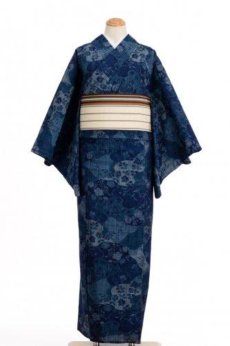 単衣 藍色 花模様のサムネイル画像