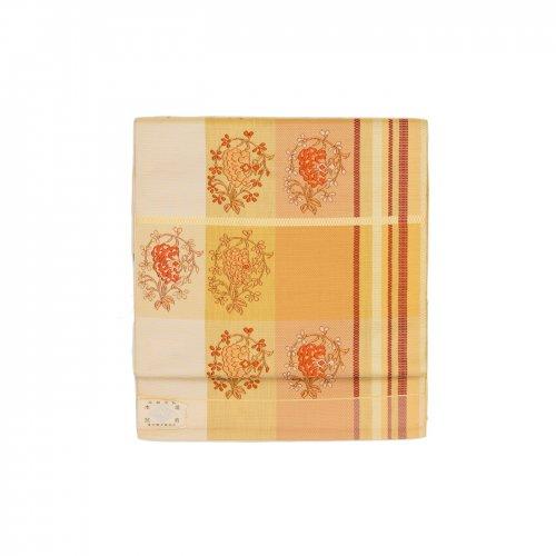 未仕立て 博多八寸名古屋帯 格子に花のサムネイル画像